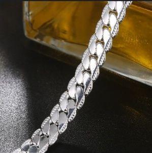 925 Sterling Silver Bracelet Diamond Link